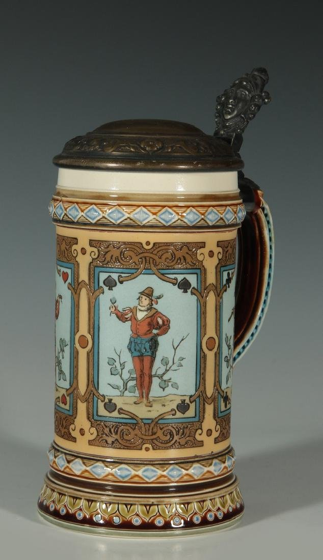 METTLACH 1/2 L ETCHED STEIN #1797 W/ PLAYING CARDS