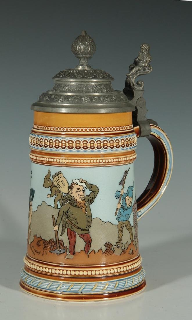 A METTLACH STEIN 1/2 L ETCHED STEIN WITH GNOMES