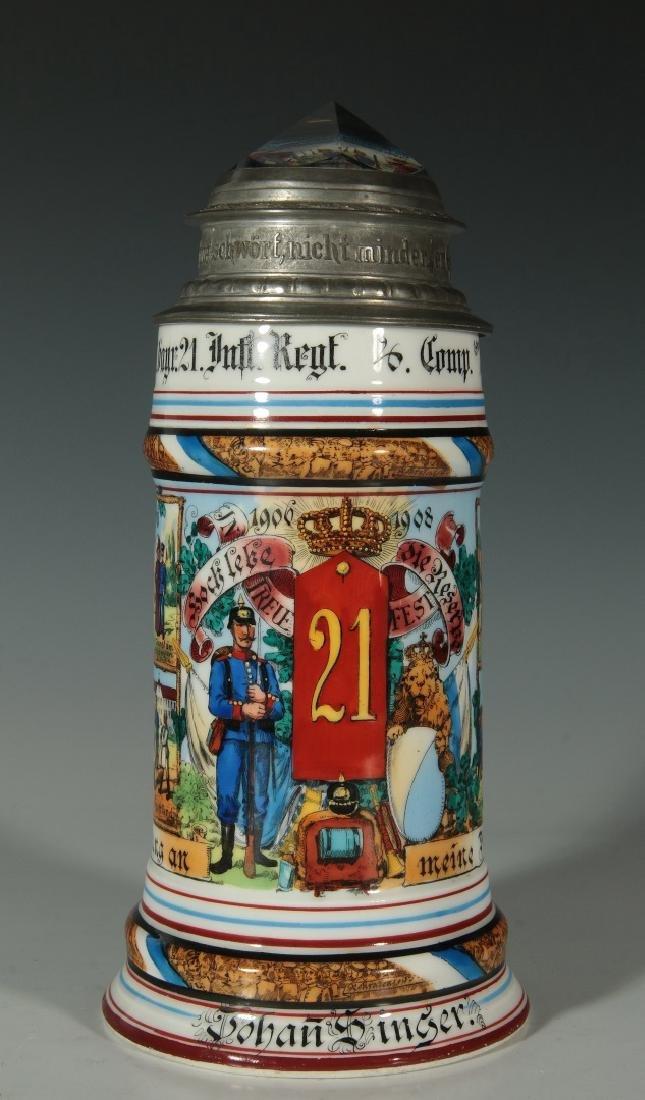 A 1906-1908 GERMAN REGIMENTAL STEIN WITH PRISM LID