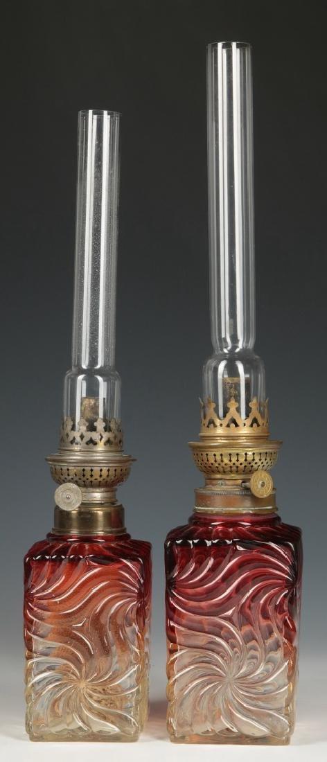 PAIR OF BACCARAT ROSE TIENTE PINWHEEL LAMPS