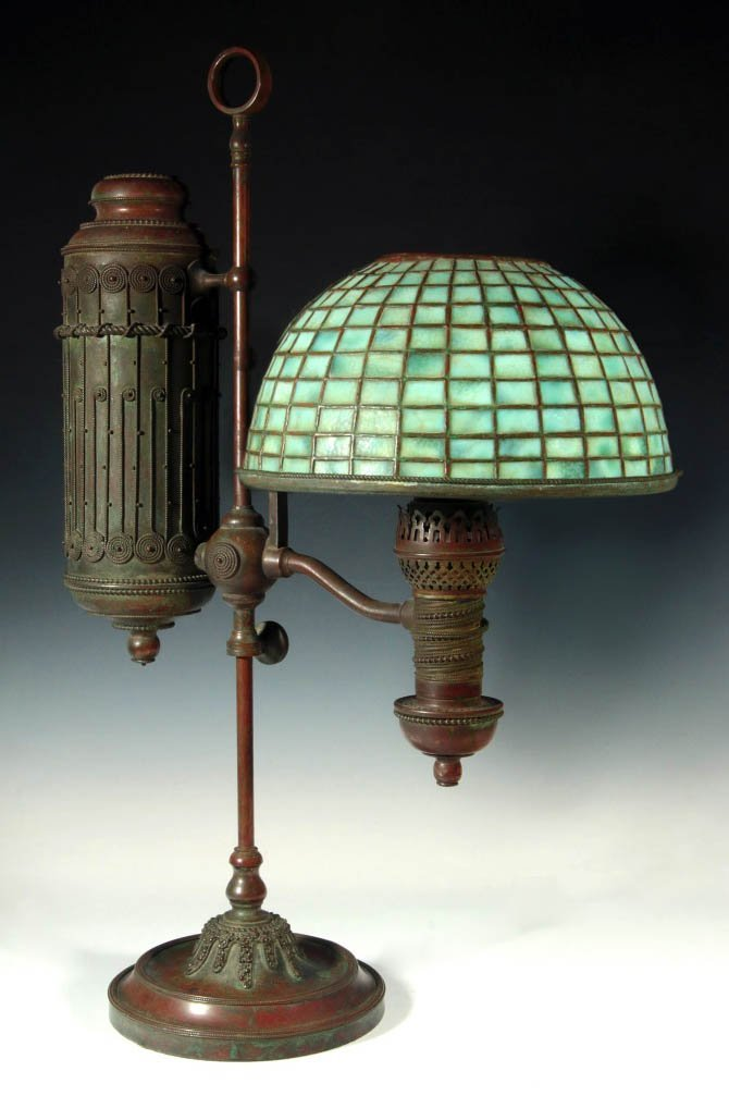 A TIFFANY STUDIOS STUDENT LAMP WITH LEADED SHADE
