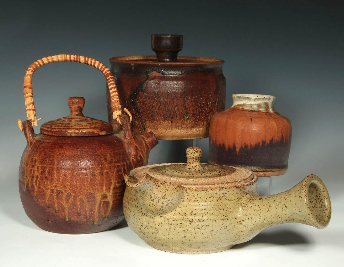 FOUR PIECES OF STUDIO POTTERY SIGNED VANDERGRIFF