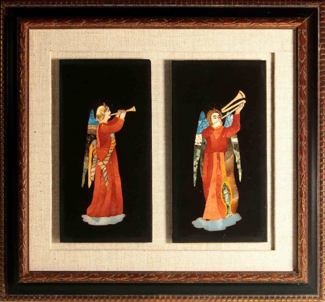 A PAIR PIETRA DURA PLAQUES AFTER FRA ANGELICO