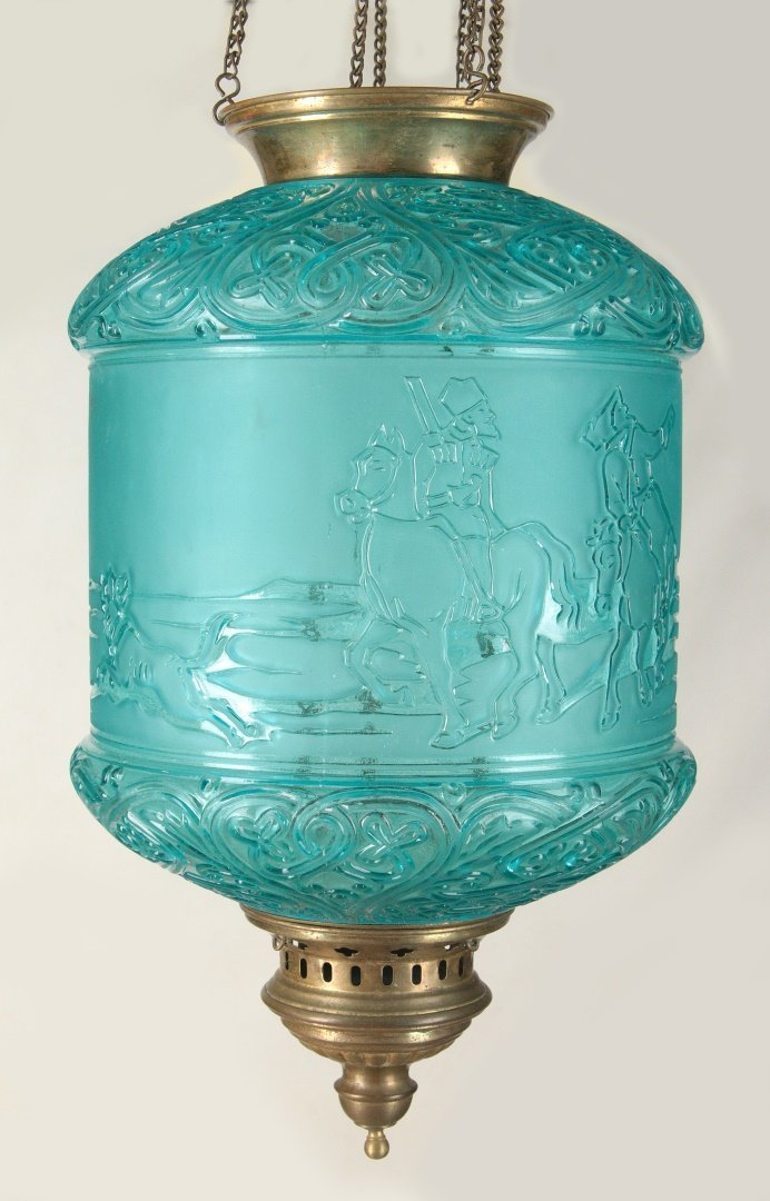 A BACCARAT HALL LANTERN WITH RUSSIAN TROIKA SCENE