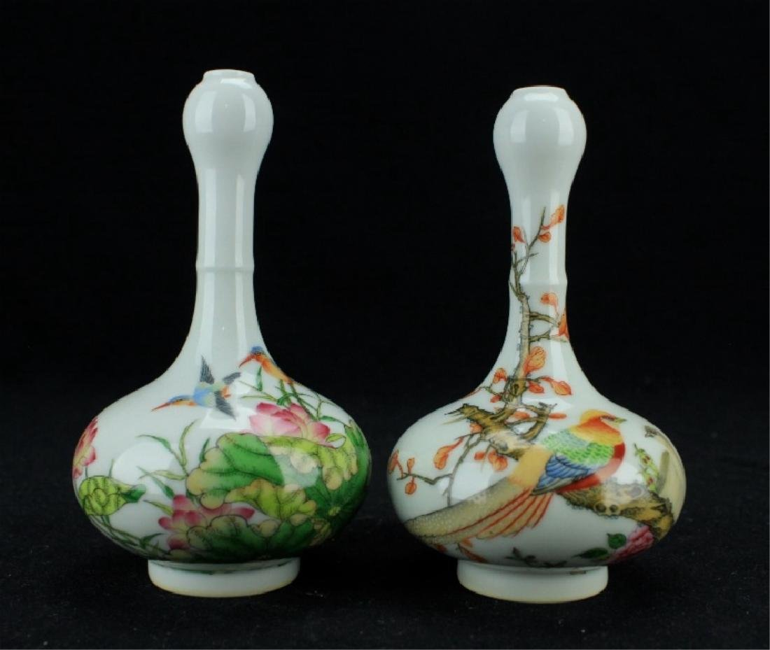 Pair of Chinese Qing Famille Rose Vase