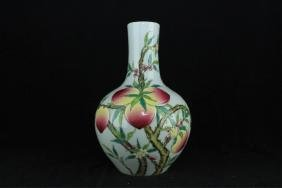 Chinese Qing Porcelain Famille Rose Peach Vase