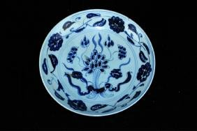 Chinese Qing Porcelain Lotus Blue&White Plate
