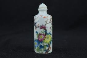 Chinese Qing Porcelain Famille Rose Snuff Bottle
