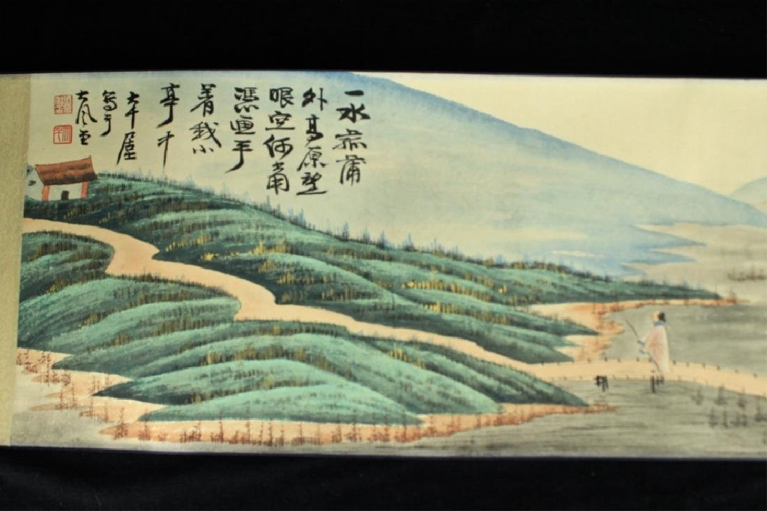 Chinese Long Scroll Painting Signed by Zhang Da Qi - 8