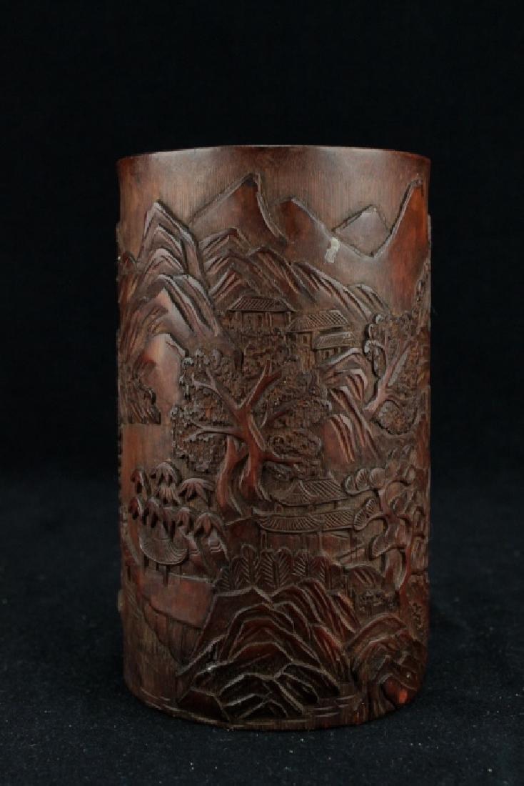 Old Chinese Wood Brush Pot