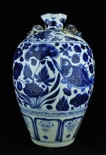 Large Chinese Ming Porcelain BlueWhite Vase