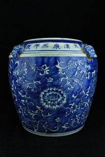 Large Chinese Qing Porcelain BlueWhite Jar