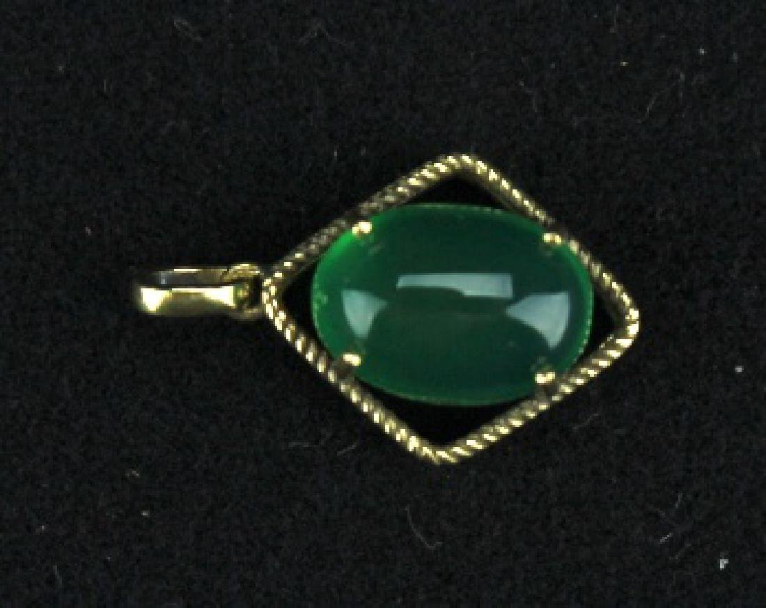 Old Jadite on 18k Gold Mount Pendant