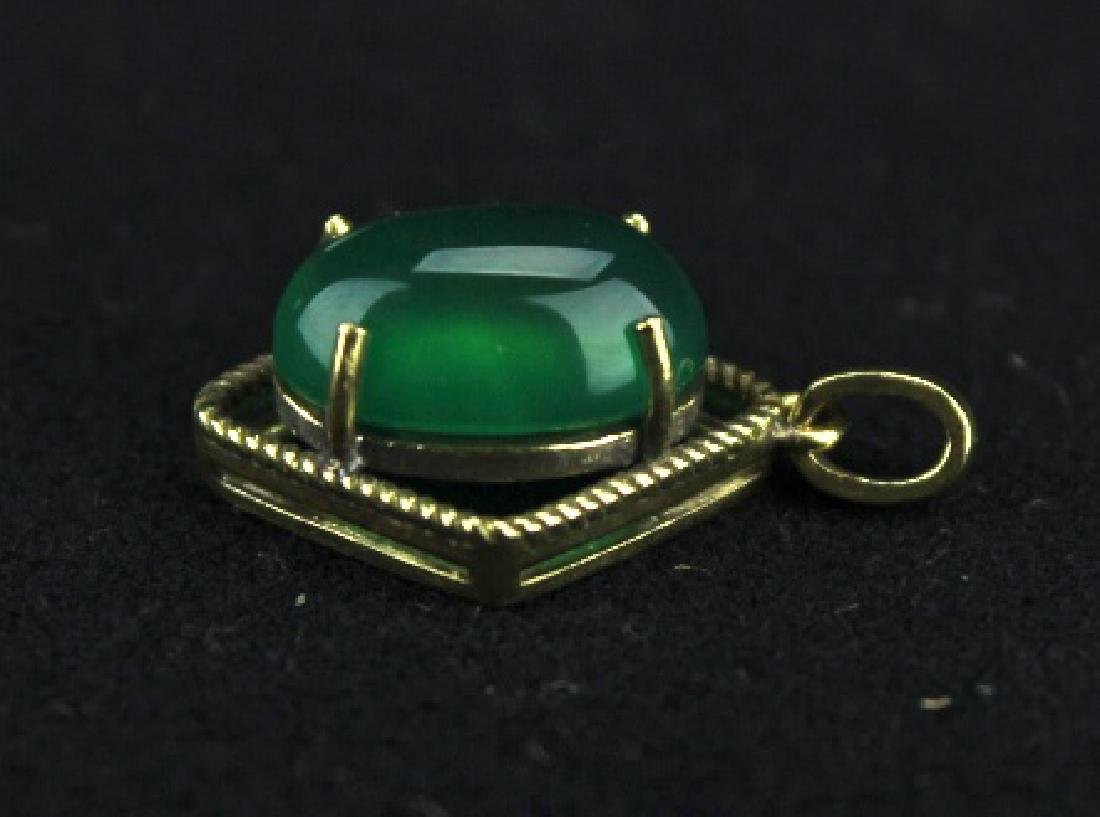 Old Jadite on 18k Gold Mount Pendant - 3
