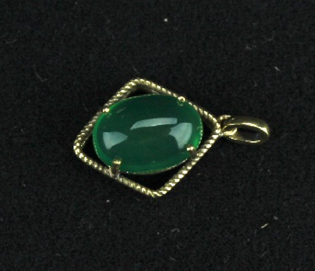 Old Jadite on 18k Gold Mount Pendant - 4