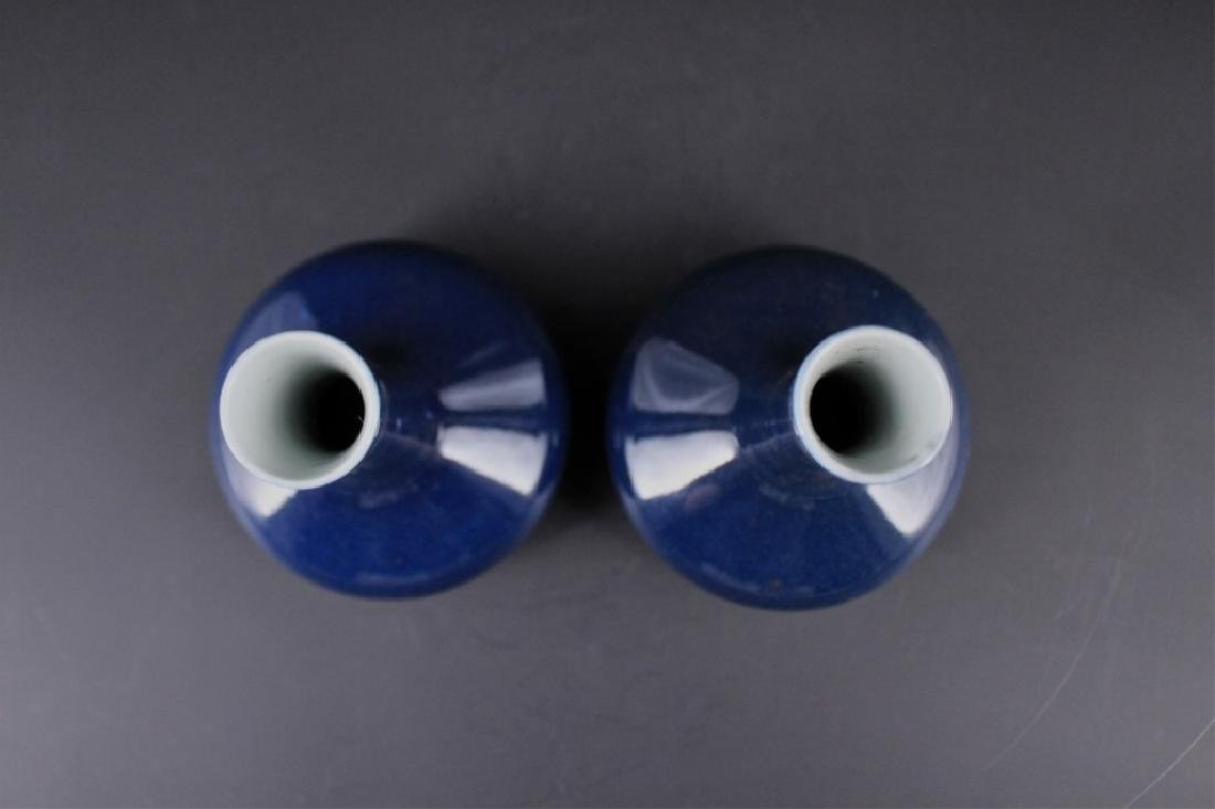 Pair of Chinese Qing Porcelain Blue Glaze Vase - 5