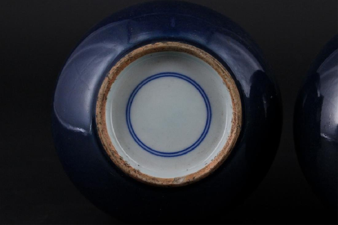 Pair of Chinese Qing Porcelain Blue Glaze Vase - 7