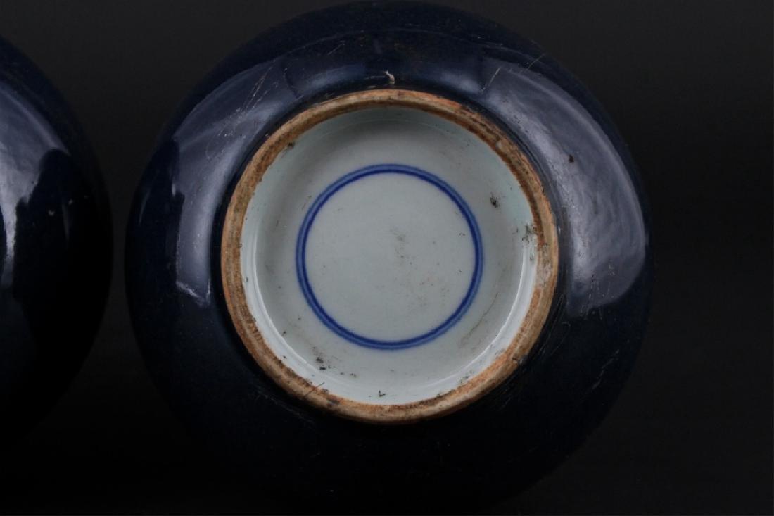 Pair of Chinese Qing Porcelain Blue Glaze Vase - 8