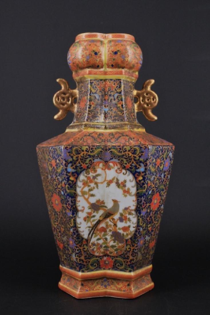 Large Chinese Qing Enamel Painted Porcelain Vase