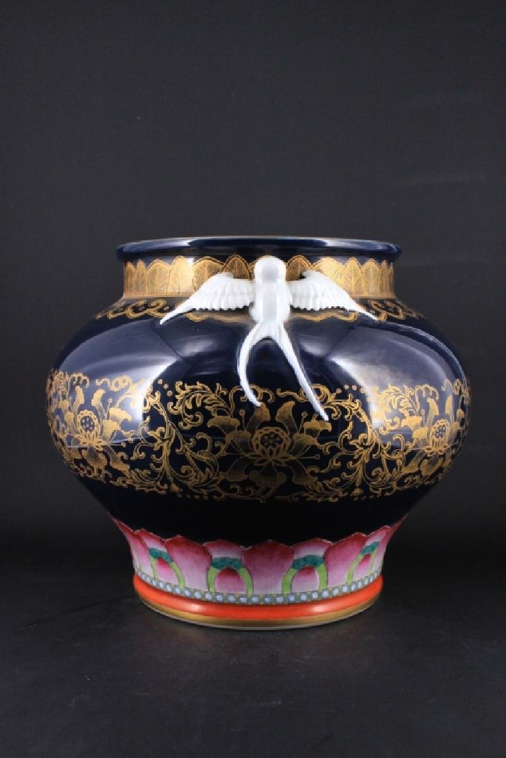 Large Chinese Qing Porcelain Famille Rose Jardine - 3