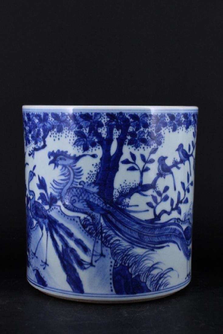 Chinese Qing Porcelain Blue White Brush Pot