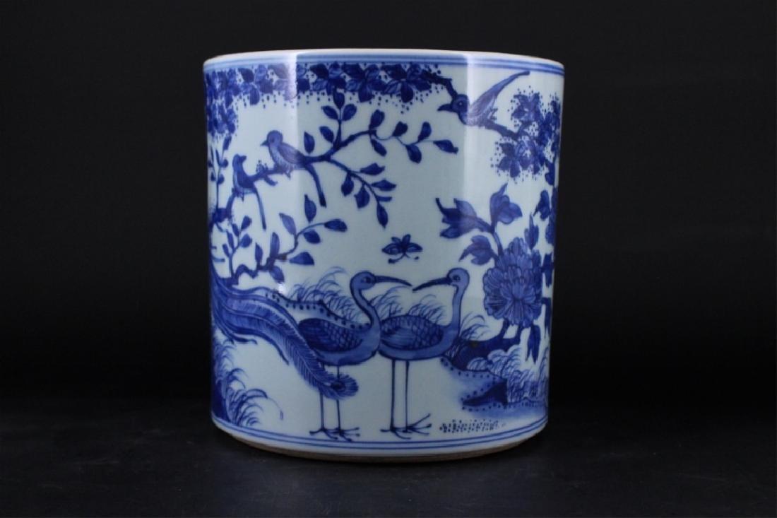 Chinese Qing Porcelain Blue White Brush Pot - 2