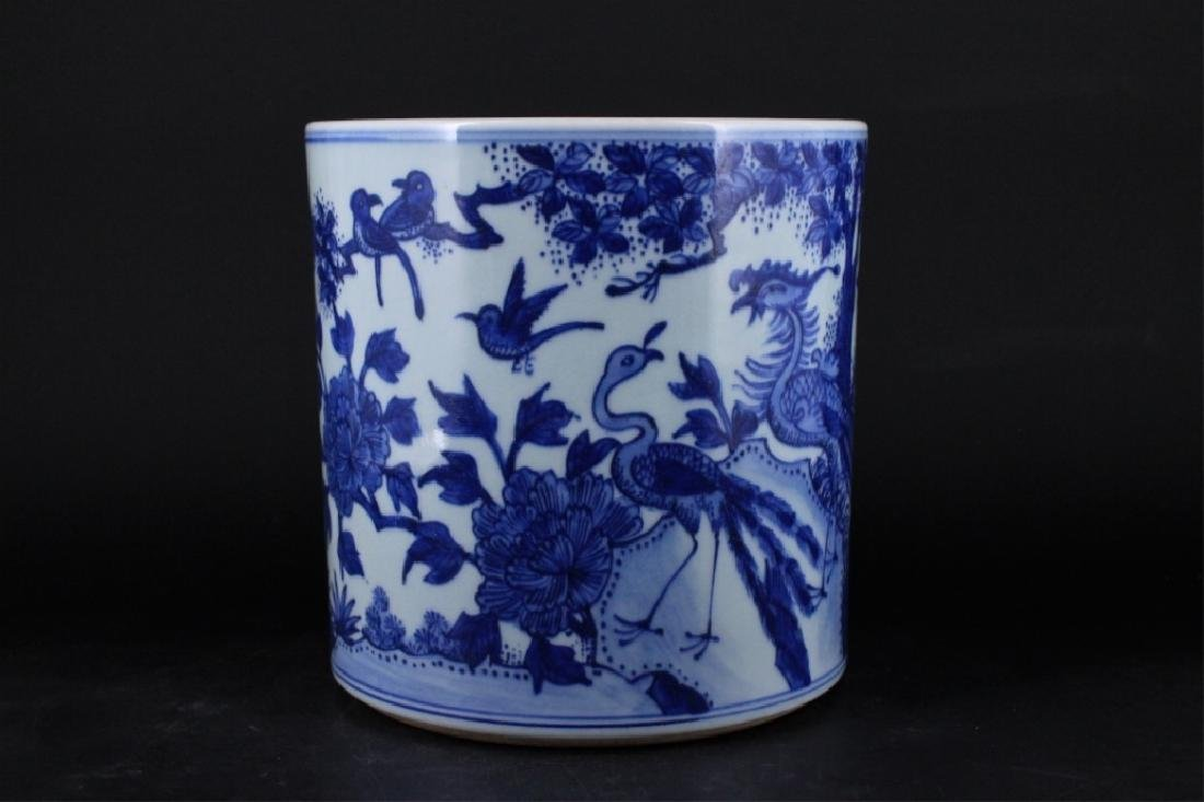 Chinese Qing Porcelain Blue White Brush Pot - 4