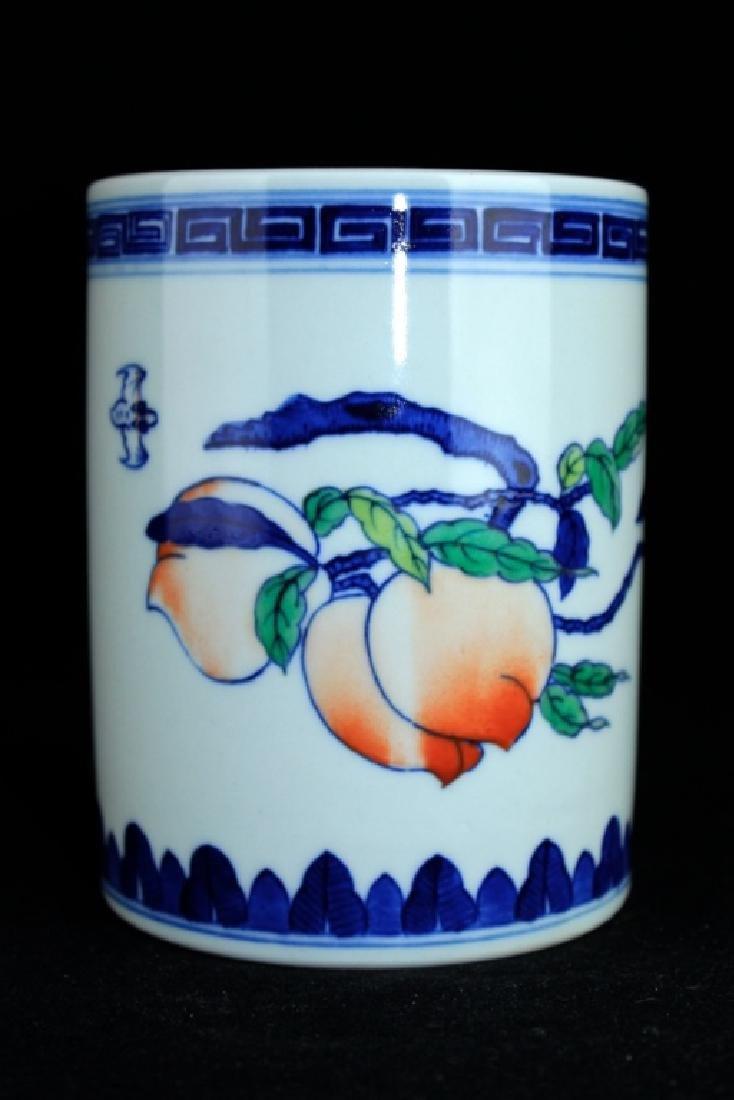 Chinese Qing Porcelain Blue&White Peach Brush Pot
