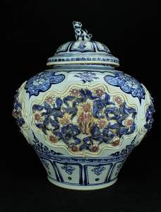 Large Chinese Porcelain Blue&White Jar with Lid