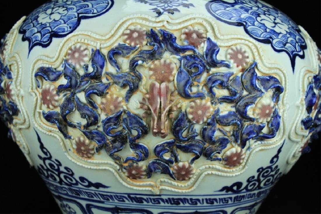 Large Chinese Porcelain Blue&White Jar with Lid - 2