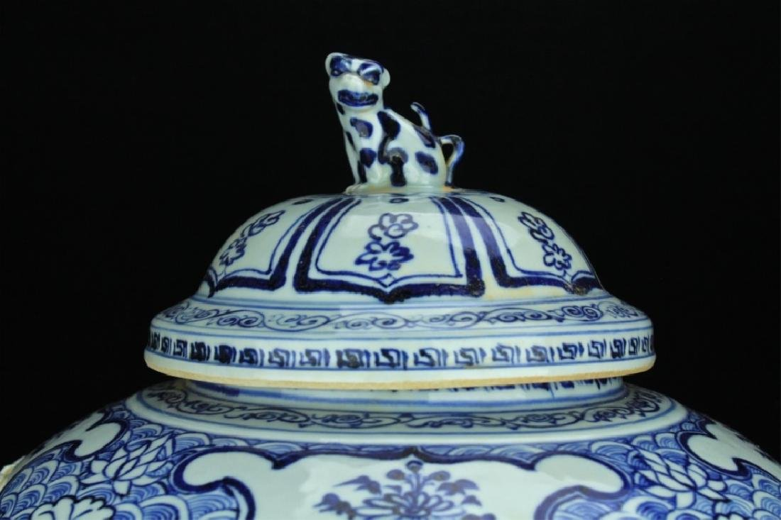Large Chinese Porcelain Blue&White Jar with Lid - 3