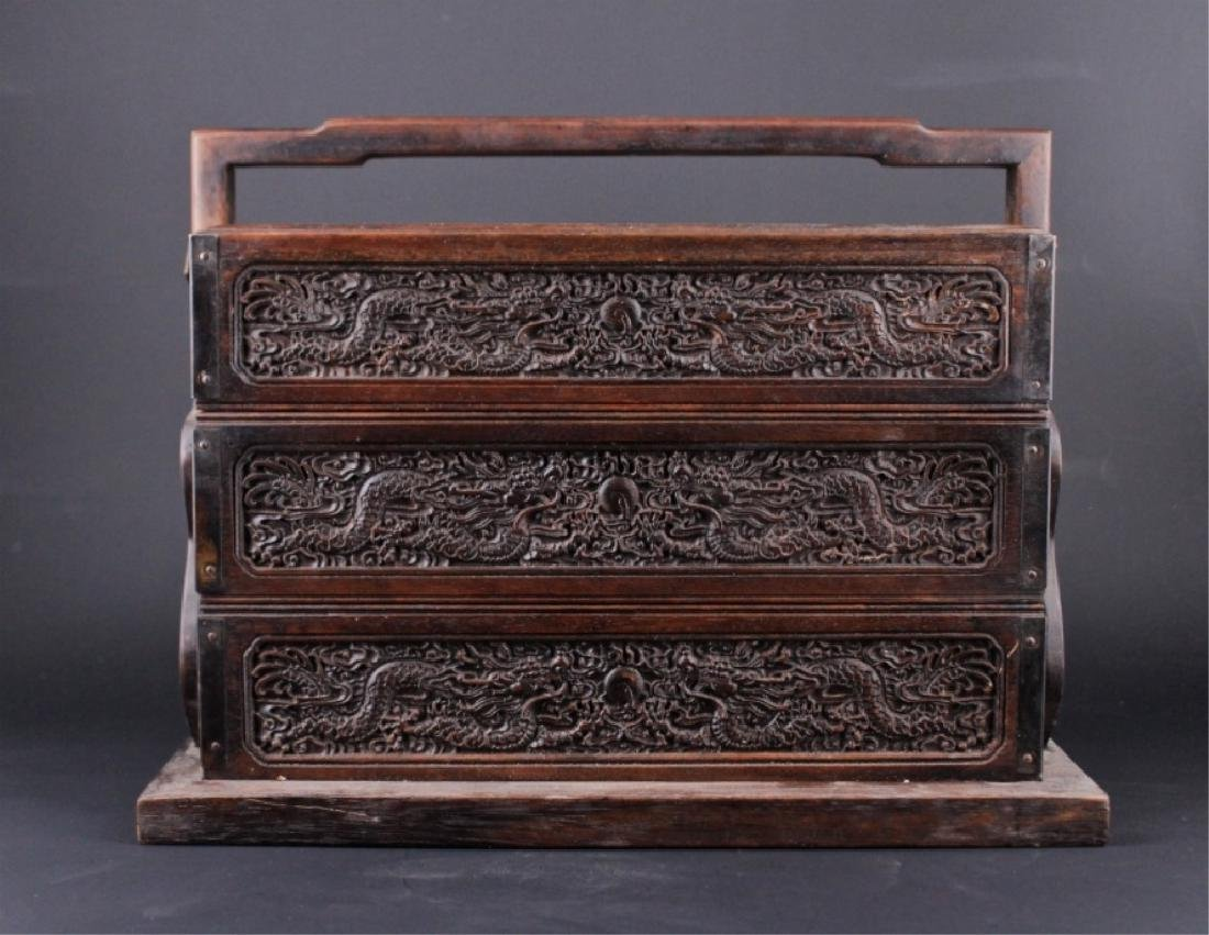 Chinese Qing Three-Layer Wooden Box