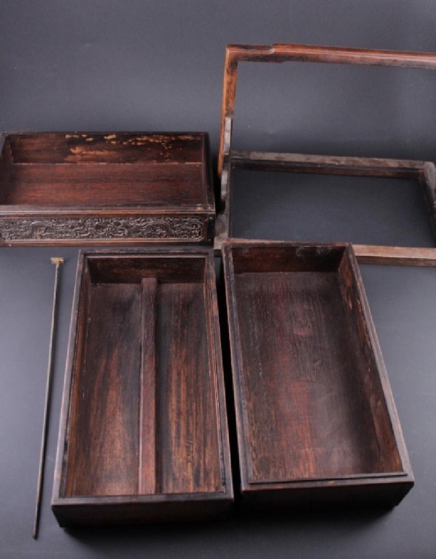 Chinese Qing Three-Layer Wooden Box - 3