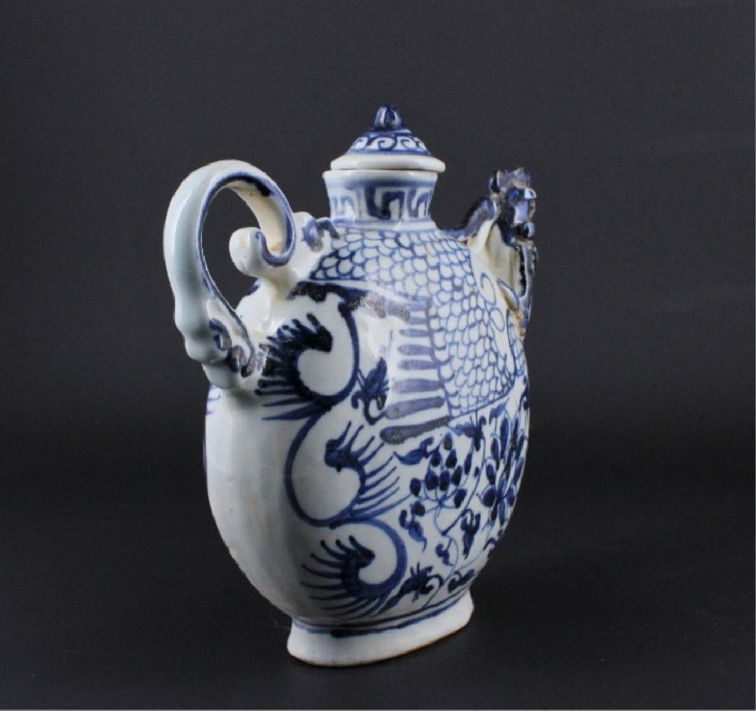 Chinese Ming Porcelain Blue&White TeaPot - 5