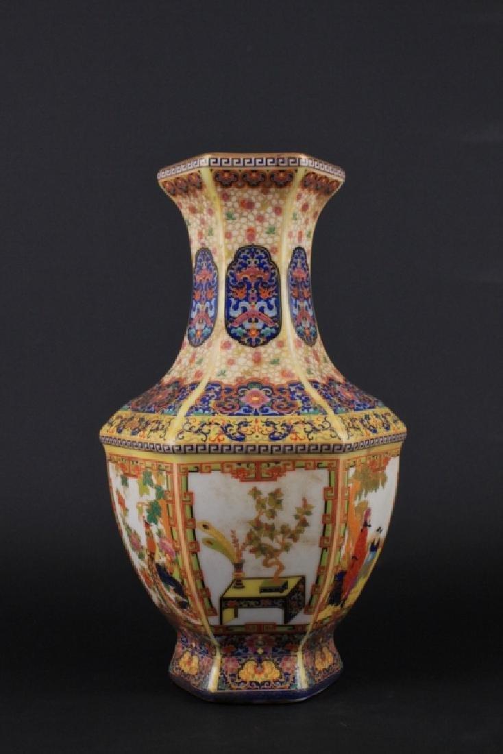 Chinese Qing Enamel Painted Porcelain Vase