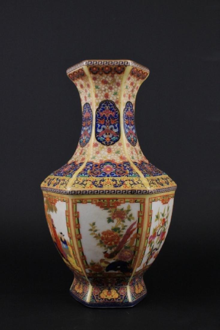 Chinese Qing Enamel Painted Porcelain Vase - 2