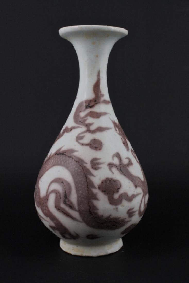 Chinese Ming Porcelain UnderRed Dragon Vase - 4