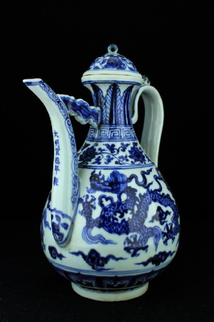 Large Chinese Ming Porcelain Blue&White TeaPot - 4