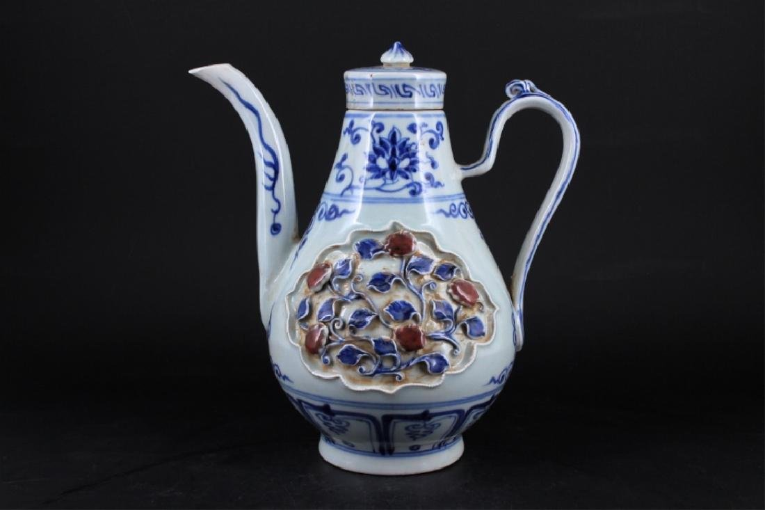Chinese Ming Porcelain Porcelain TeaPot - 5