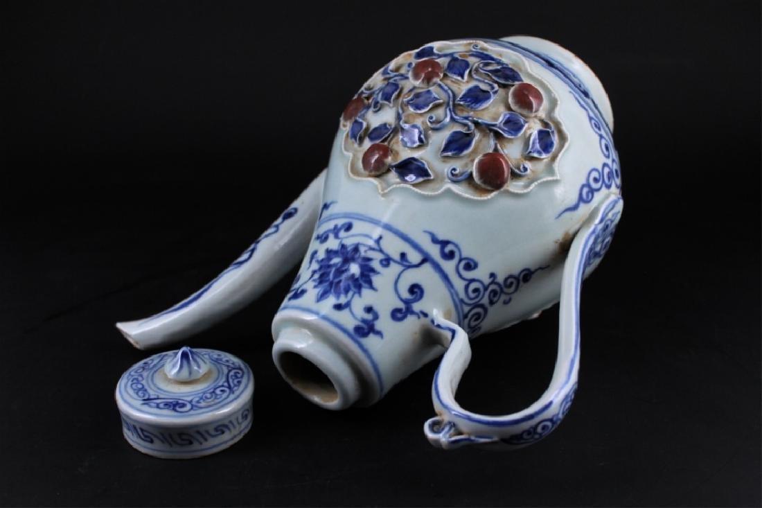 Chinese Ming Porcelain Porcelain TeaPot - 6
