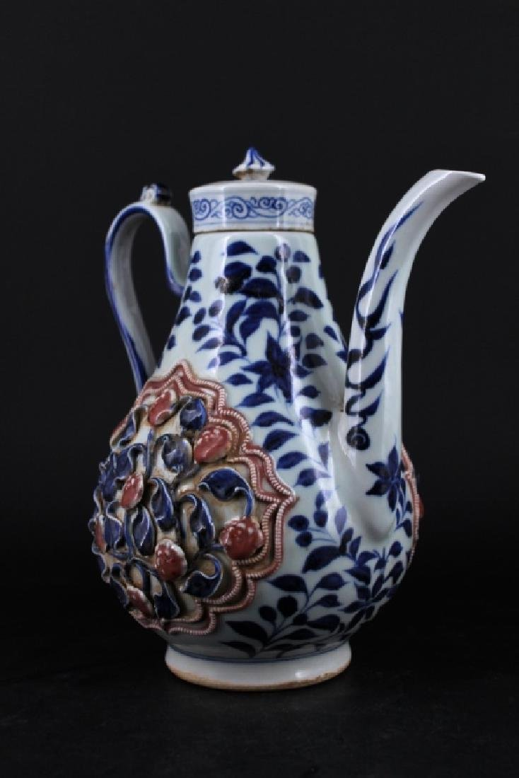 Chinese Ming Porcelain TeaPot - 4