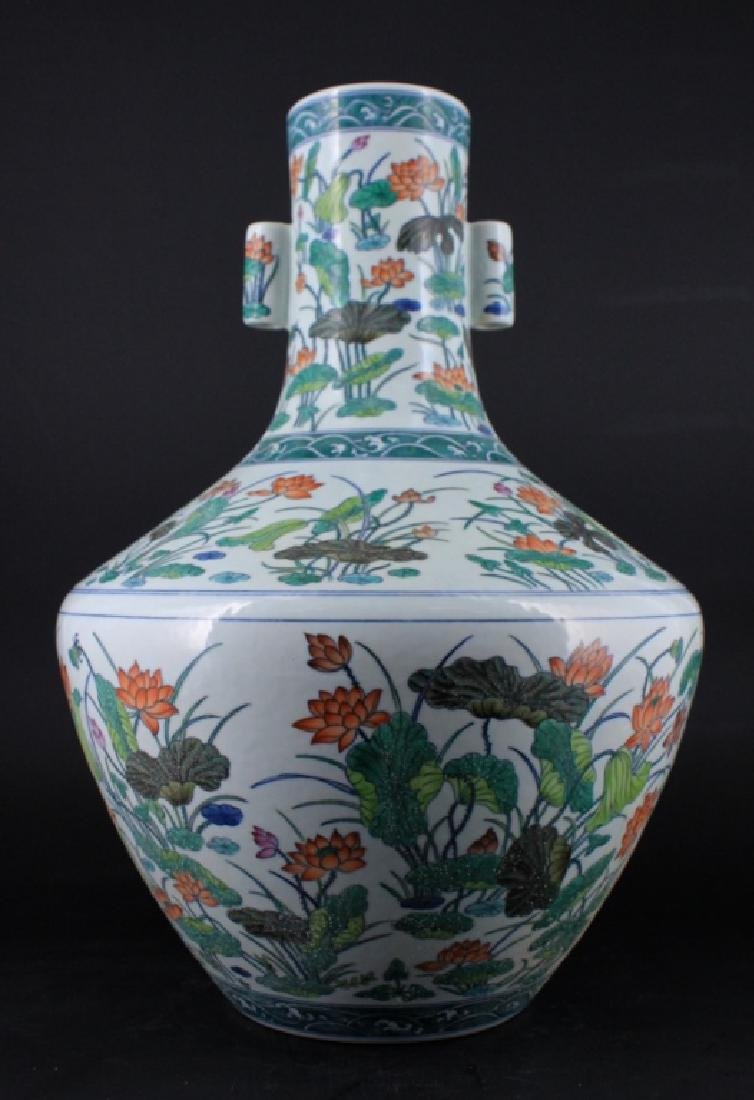 Large Chinese Qing Porcelain Famille Rose Vase