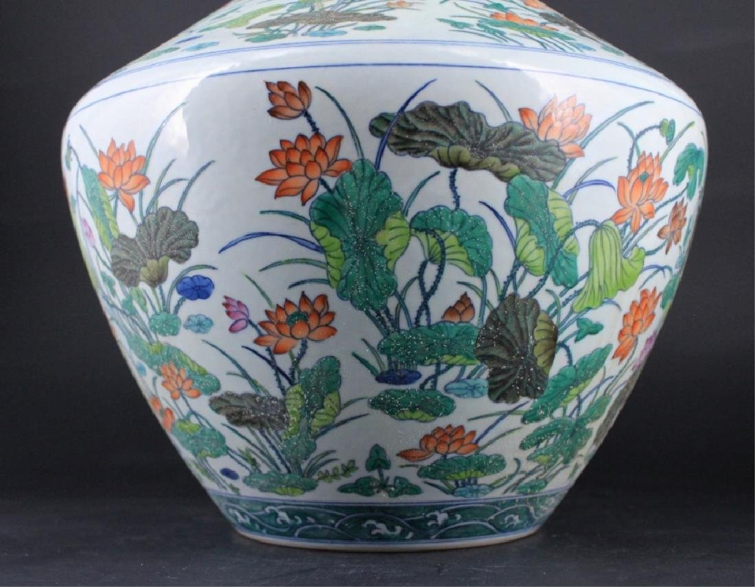 Large Chinese Qing Porcelain Famille Rose Vase - 4