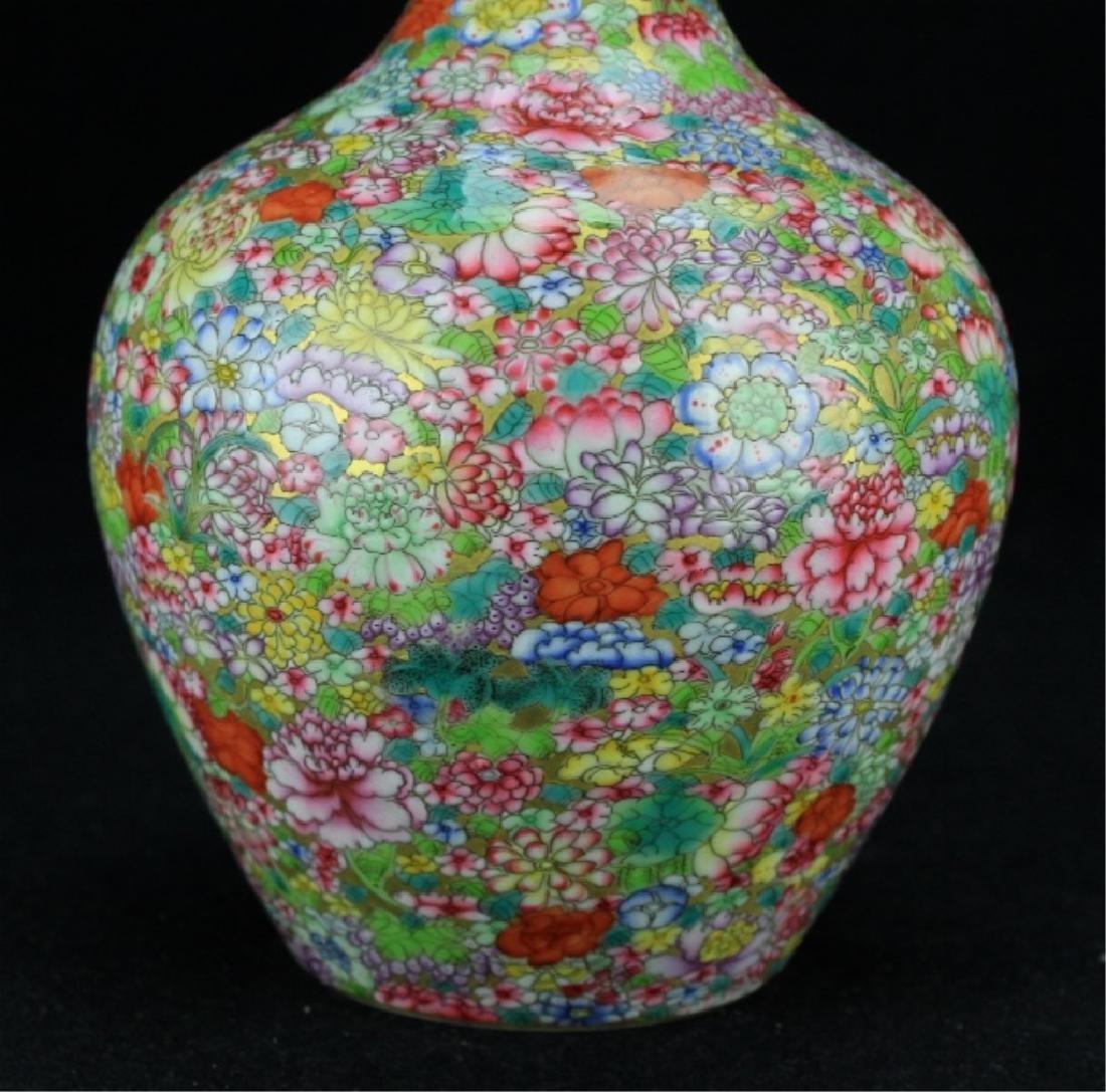 Chinese Qing Porcelain Flower Famille Rose Vase - 3