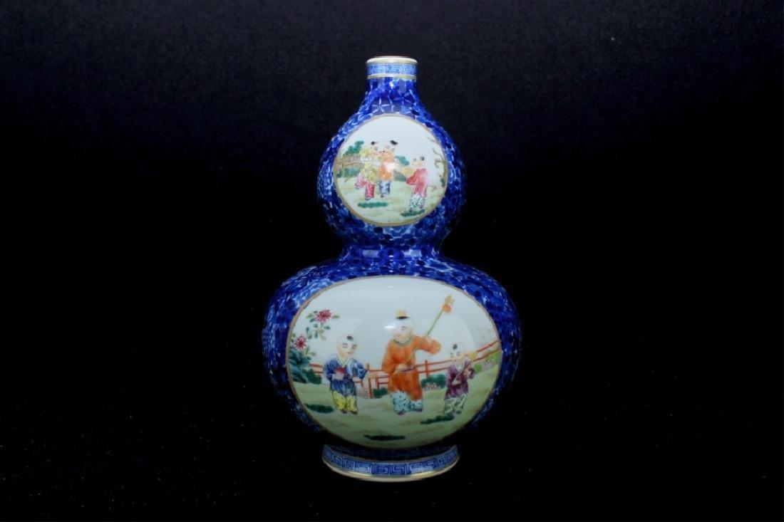 Chinese Qing Porcelain Famille Rose Gourd Vase