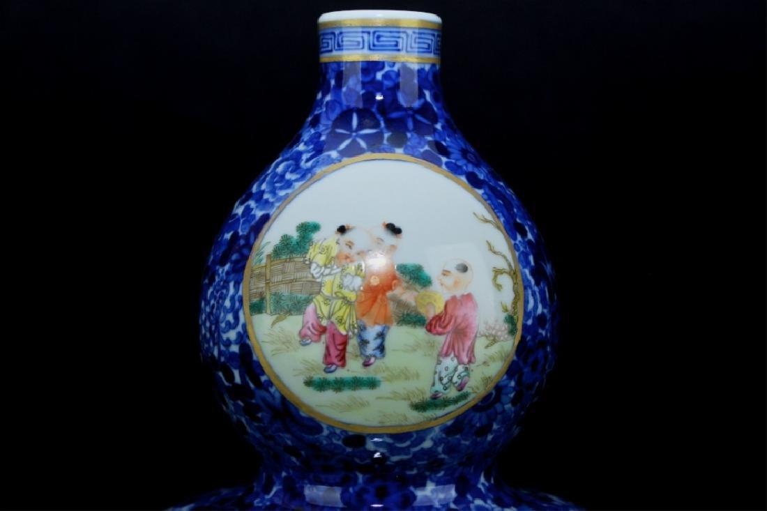 Chinese Qing Porcelain Famille Rose Gourd Vase - 2