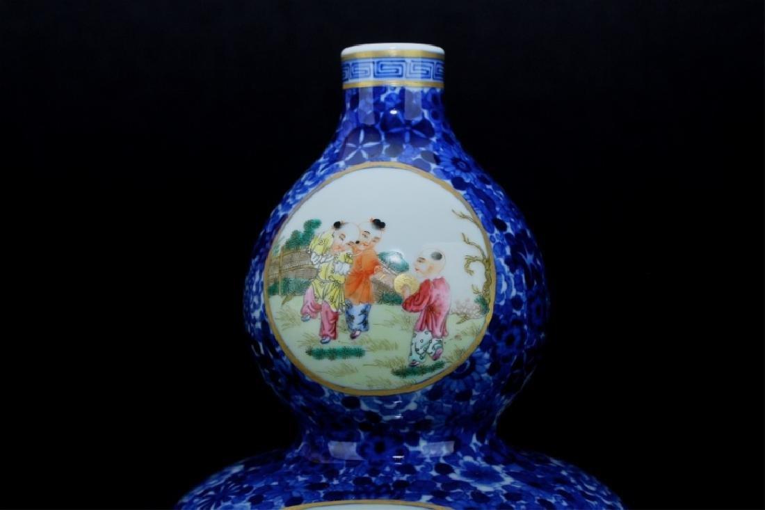 Chinese Qing Porcelain Famille Rose Gourd Vase - 3