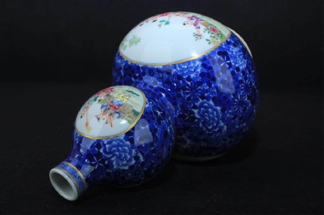Chinese Qing Porcelain Famille Rose Gourd Vase - 9