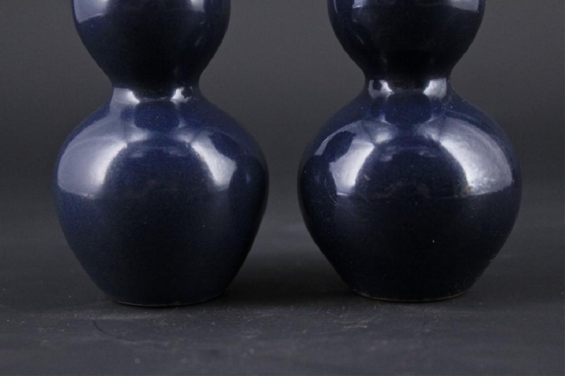 Pair of Qing Porcelain Blue Glaze Gourd Vase - 3