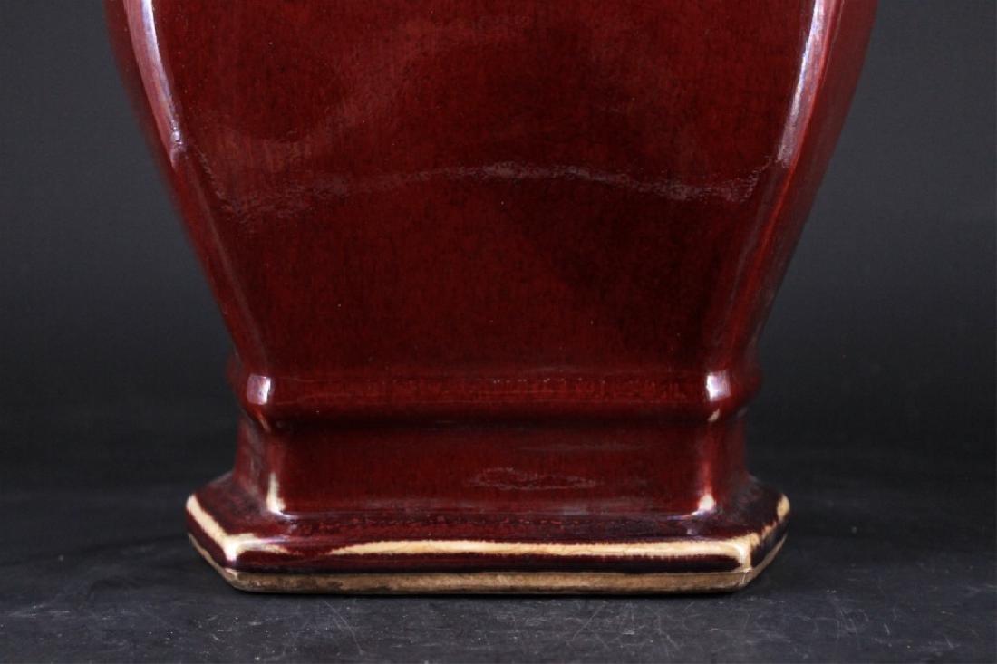Large Chinese Qing Porcelain Red Glaze Vase - 3